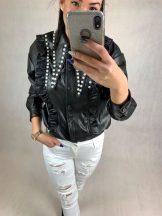 Fekete bőrhatású ing gyöngyökkel